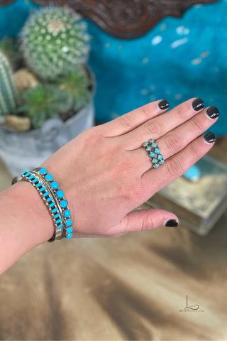 Diamond Turquoise Stacker Ring