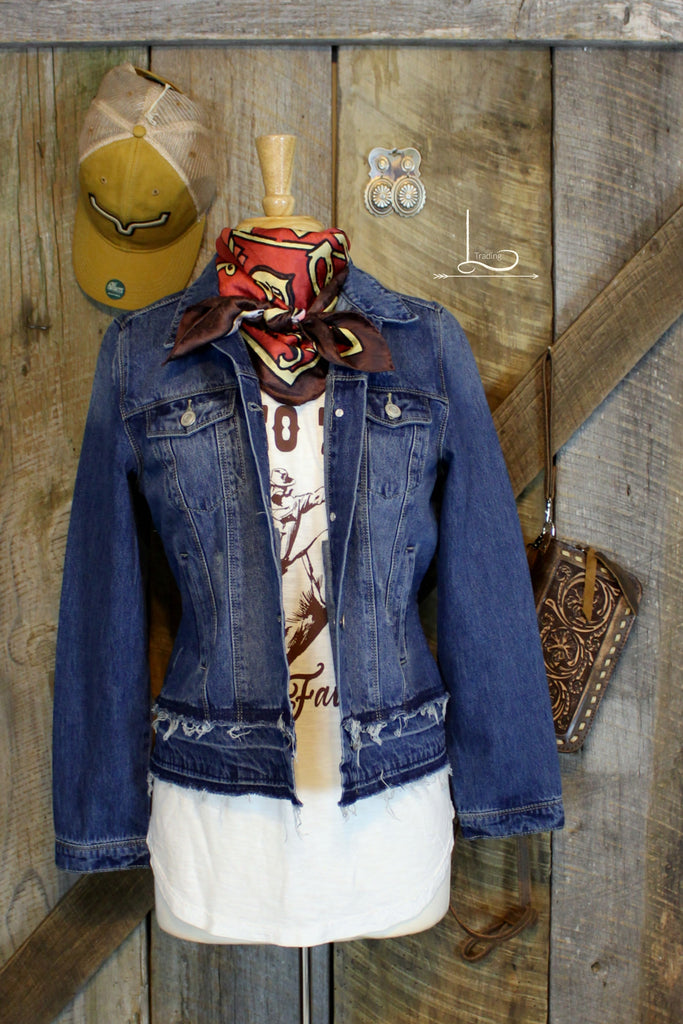 Destructed Denim Jacket - L Trading