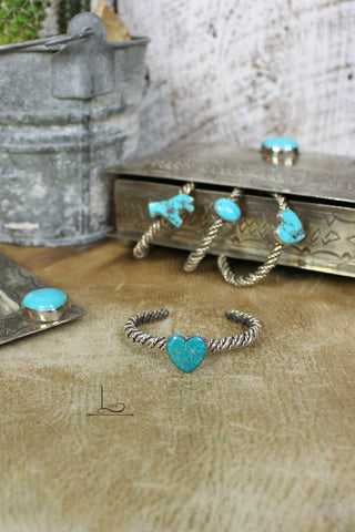 Turquoise Heart Twisted Sterling Cuff