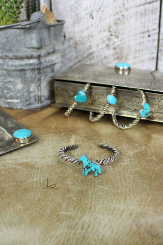 Turquoise Twisted Sterling Cuff