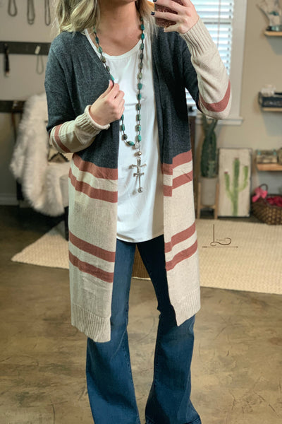 Block Knit Cardigan - L Trading