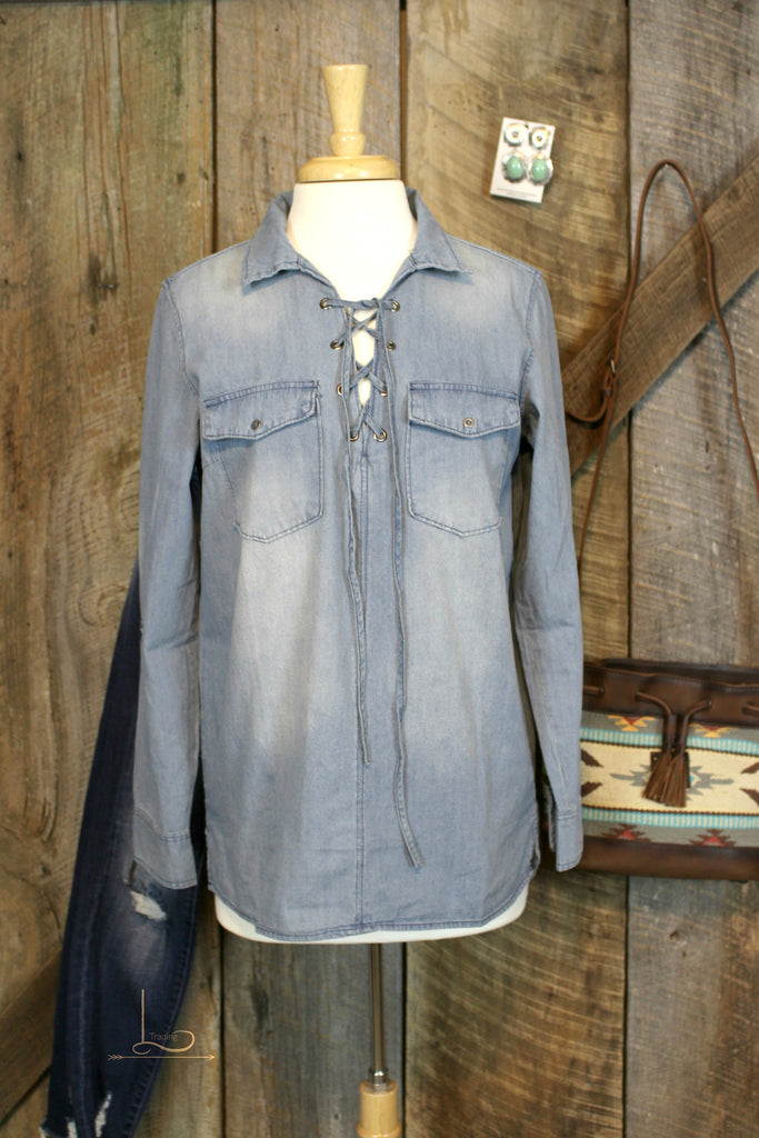 Denim Lace Up Top - L Trading