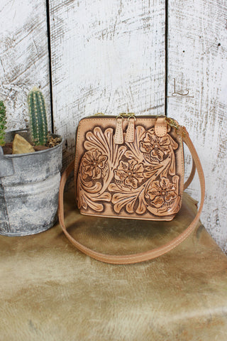 The Catalina Natural Tooled Leather Crossbody