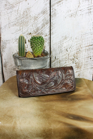 Antonio Tooled Leather Wallet in Brown