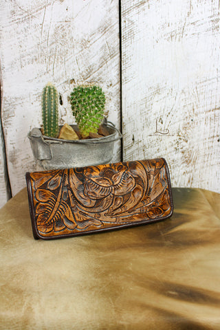 Antonio Tooled Leather Wallet in Mocha