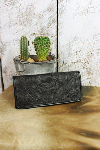 Antonio Tooled Leather Wallet in Black