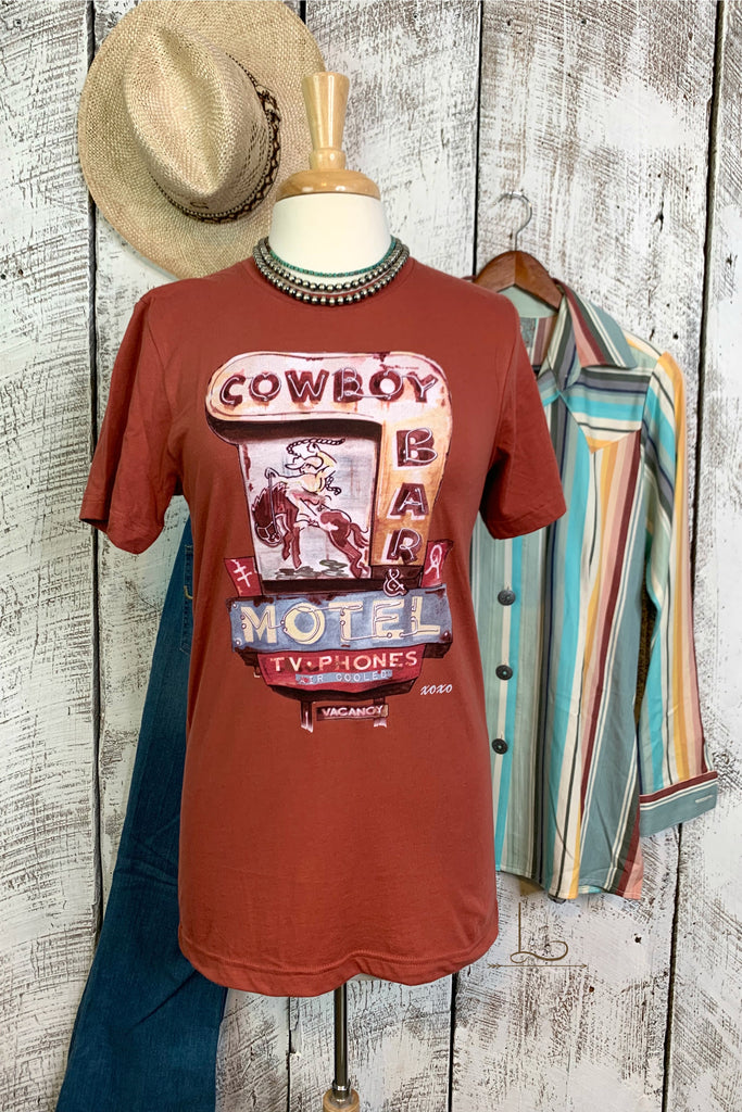 Cowboy Bar Motel Graphic Tee - L Trading