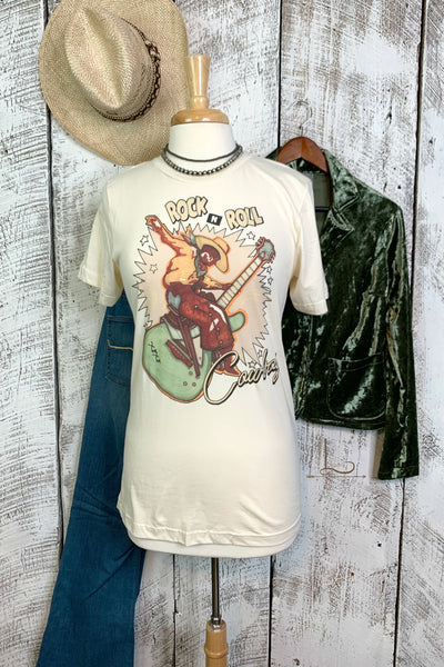 Rock N Roll Cowboy Graphic Tee - L Trading