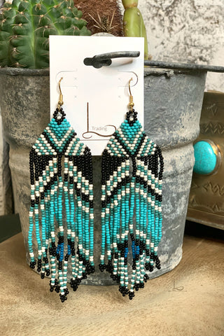 Turquoise Fringe Beaded Earrings