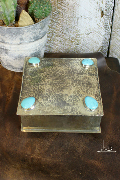 Large Silver & Turquoise Box - L Trading