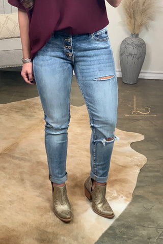 Distressed Girl Friend Skinny Jeans