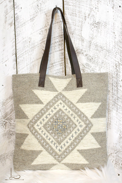 Taupe Aztec Embroidered Tote - L Trading