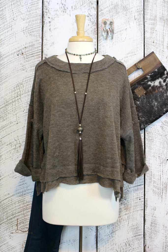 Mocha Cropped Sweater - L Trading