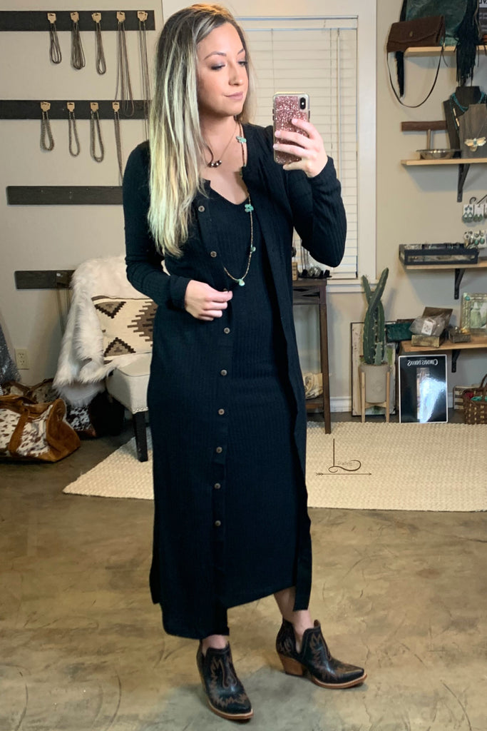 Black Midi Dress/Cardigan - L Trading