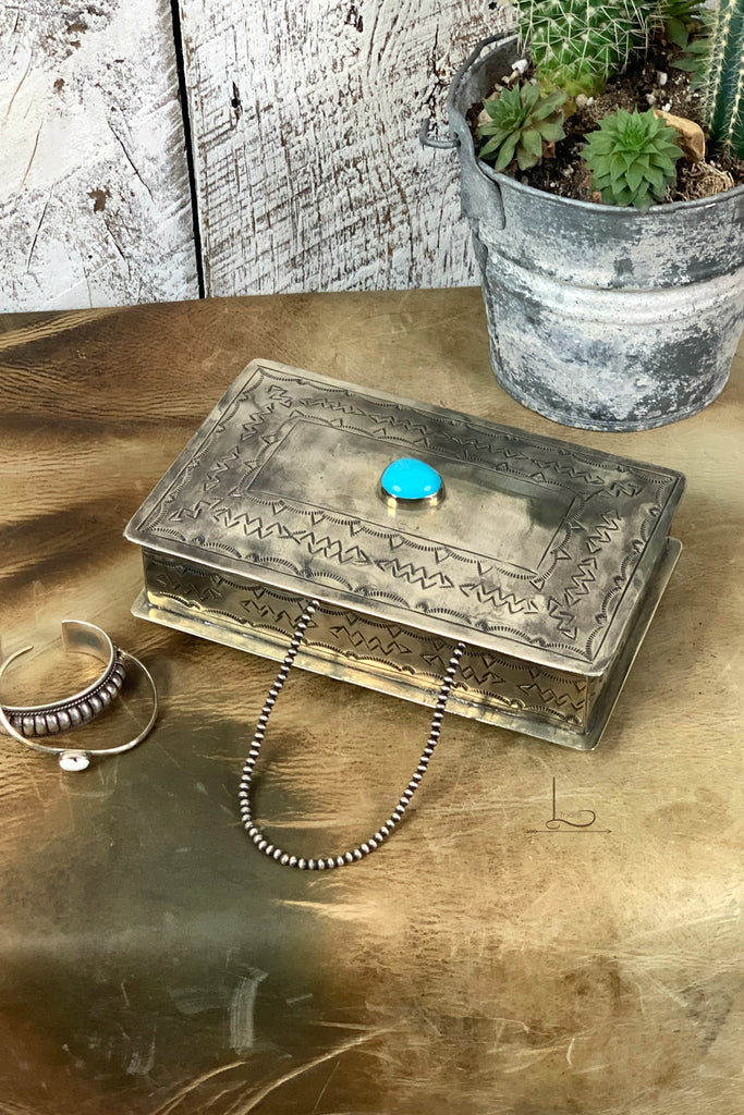 Hand Stamped Rectangular Box with Turquoise
