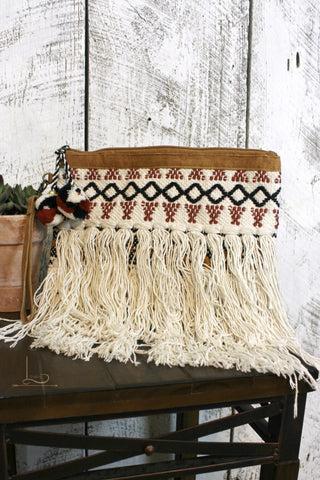 Embroidered Fringe Clutch