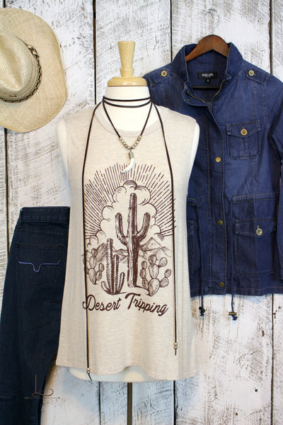Desert Tripping Graphic Sleeveless Top - L Trading