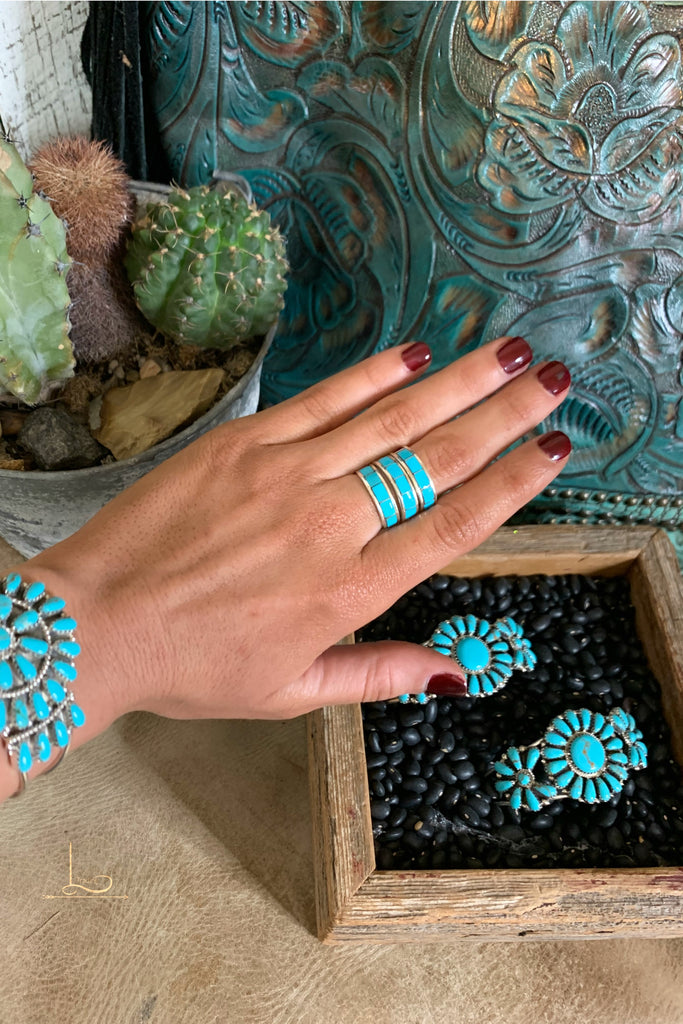 Turquoise Stacker Rings - L Trading
