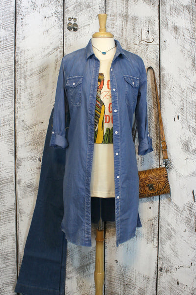 Chambray Duster/Dress - L Trading