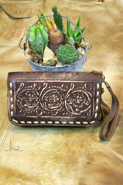 Buckstitch Hand-Tooled Clutch Organizer - L Trading