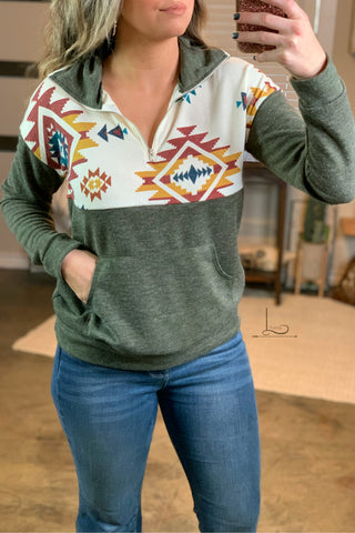 Aztec Olive Pullover