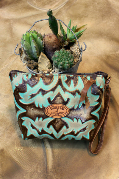 Turquoise Laredo Large Makeup Pouch