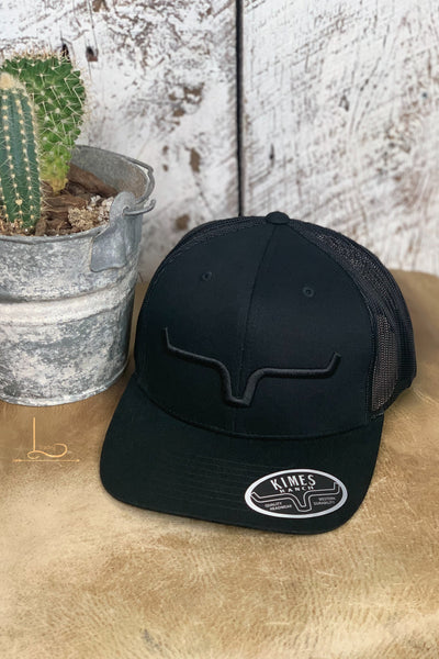 Kimes Cap in Black with Black Embroider