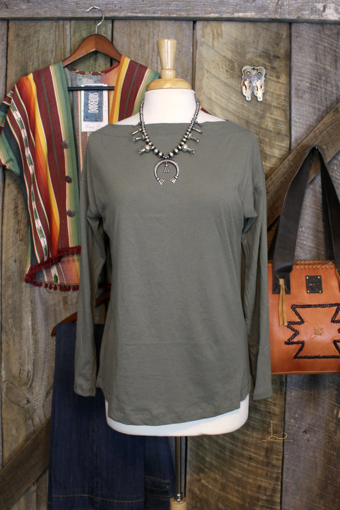 Smokey Olive Boat Neck Top - L Trading
