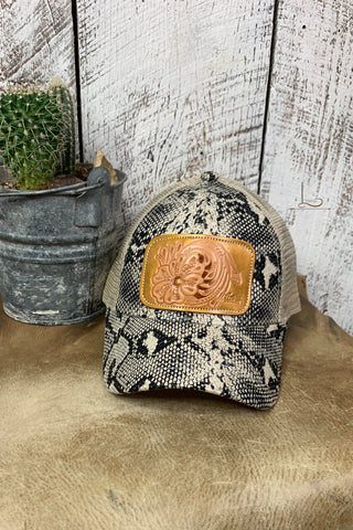 Snake Print with Tooled Patch Pony Tail Cap