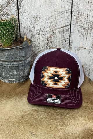 Maroon & White with Aztec Leather Patch Cap