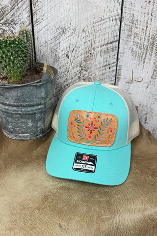 Mint & White with Floral Leather Patch Cap