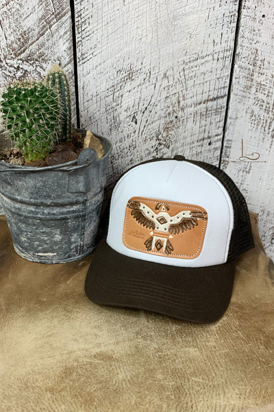 Brown & White with Thunderbird Leather Patch Cap