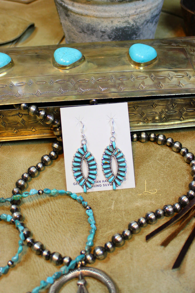 Turquoise Oval Dangle Earrings