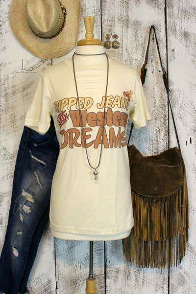 Ripped Jeans and Western Dreams ~ Graphic Tee - L Trading