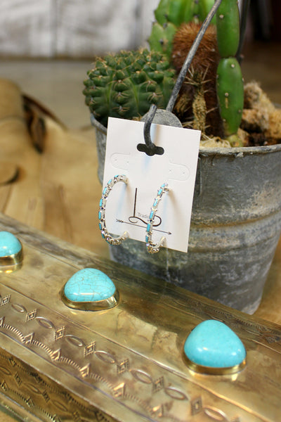 Chico Turquoise & Sterling Hoops - L Trading
