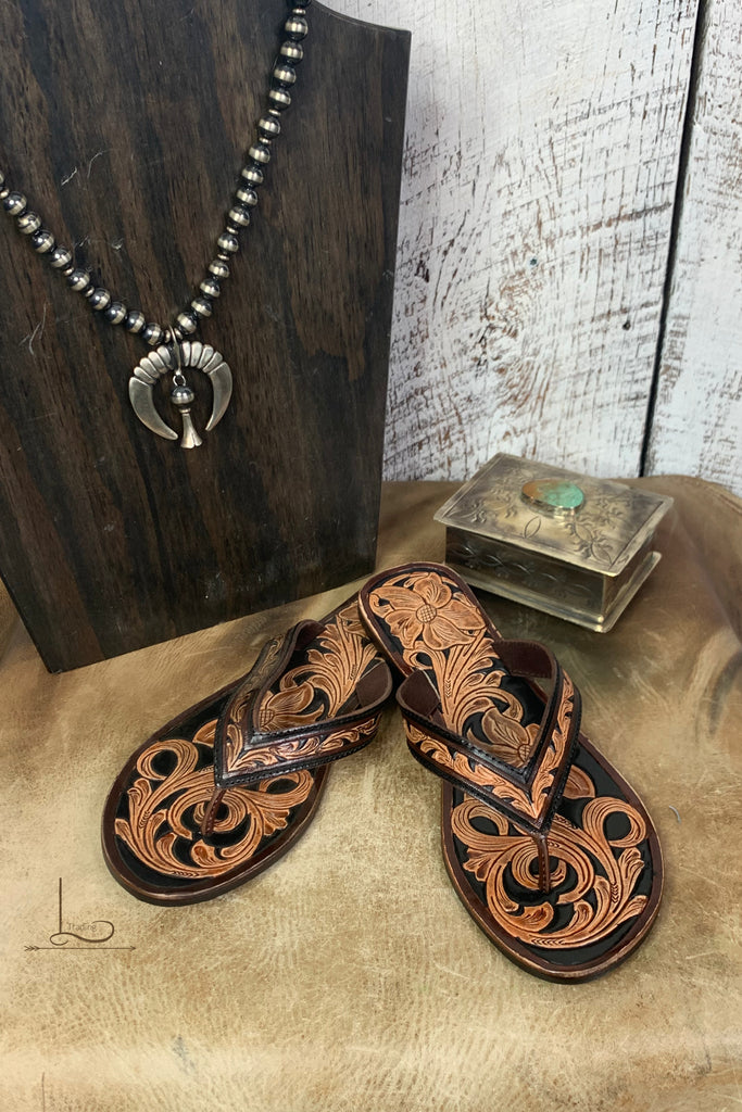 Tooled Leather Flip Flops