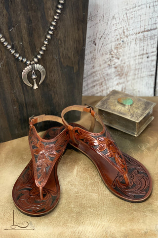 Tooled Leather Slingback Sandals