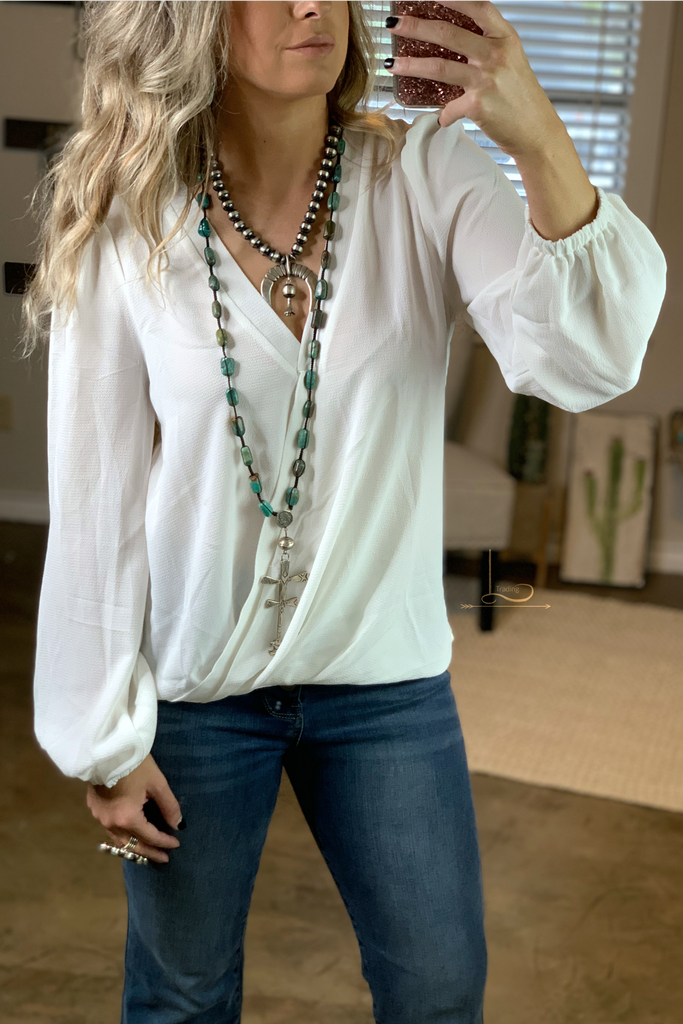 Ivory Wrap Front Top - L Trading
