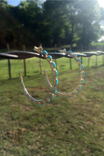 Sterling Turquoise Hoops - L Trading