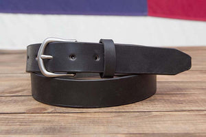 "Black 1.25"" Full Grain Leather Belt Taper Tip"
