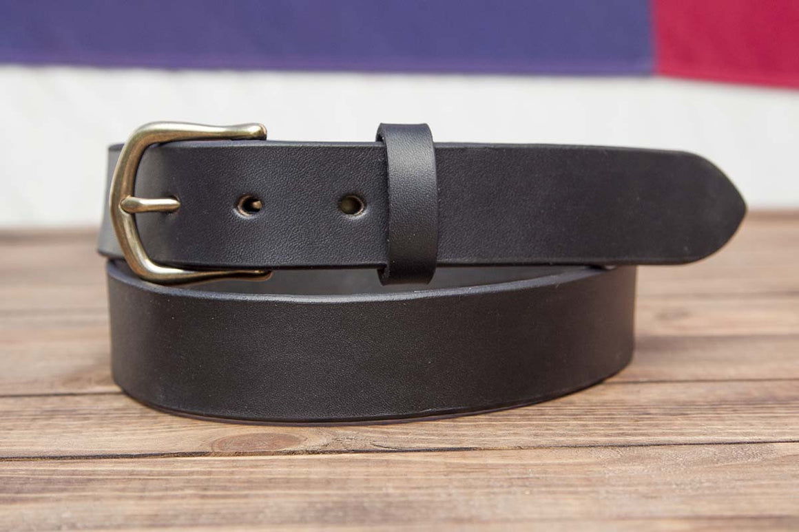"1.25"" Full Grain Black Leather Belt Taper Tip"
