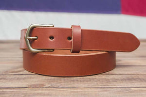 "1.25"" chestnut full grain leather belt english point tip slider buckle"