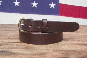 "1.25"" Dark Brown Full Grain Leather Belt English Point Tip Slider Buckle"