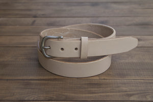 "1.25"" Natural Full Grain Leather Belt Tapered Tip Slider Buckle"