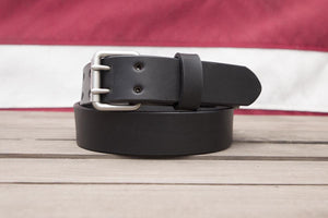 Silver Matte 2 Hole full grain leather belt