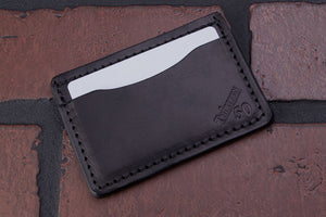 Black 2 pocket front pocket full grain leather card wallet