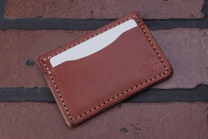 Brown 2 pocket front pocket full grain leather card wallet