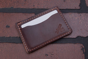 Dark Brown 2 pocket front pocket full grain leather card wallet
