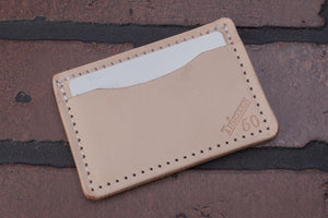 Natural 2 pocket front pocket full grain leather card wallet