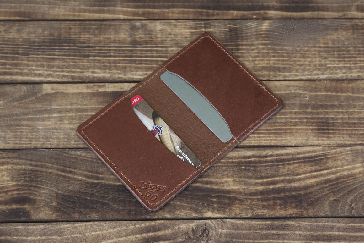 brown minimalist wallet 3 pocket
